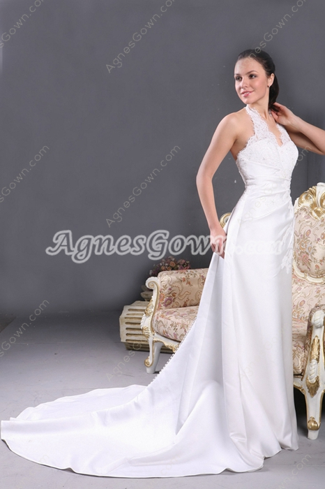 2016 Top Halter Satin Wedding Dress With Lace