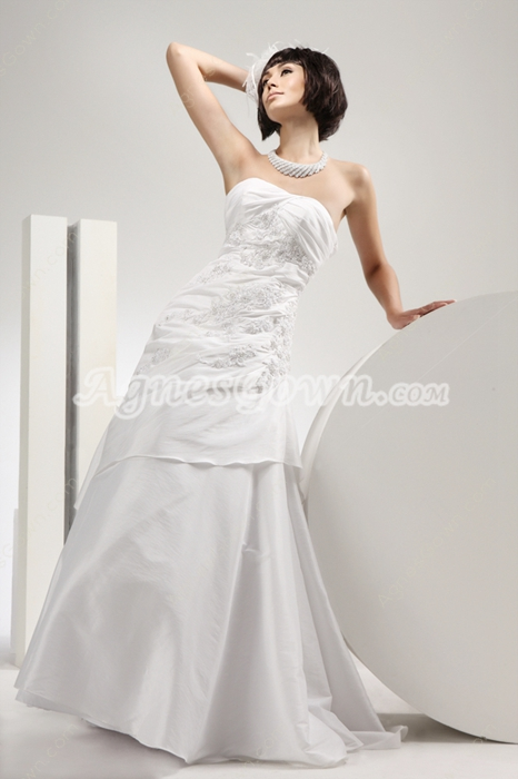 Noble Taffeta A-line Wedding Dress With Lace Appliques