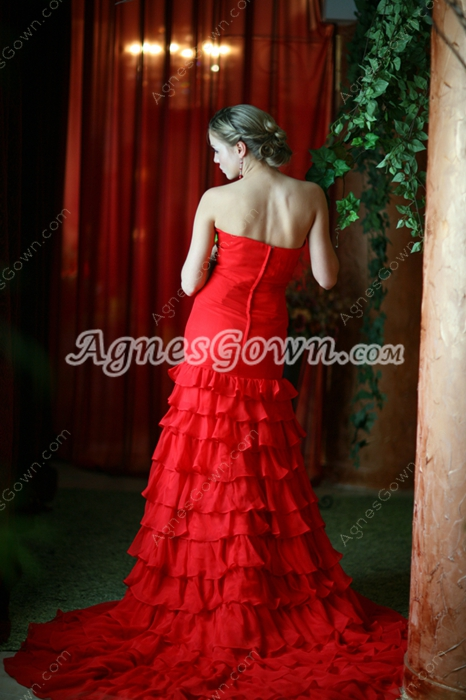 Stunning Red Celebrity Prom Dresses With Ruffles