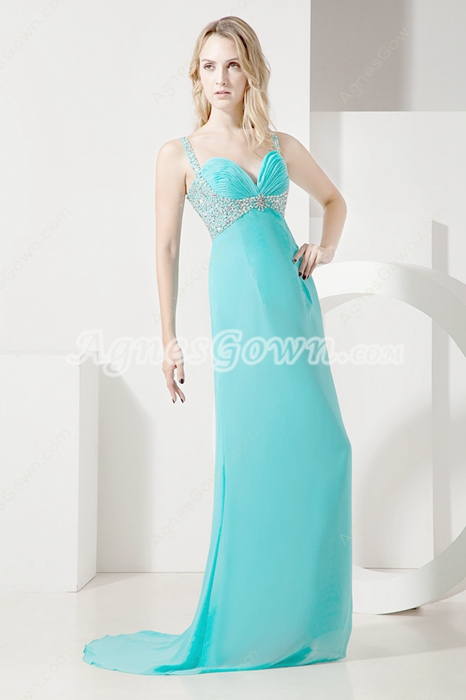Beautiful Blue Long Chiffon Evening Dress