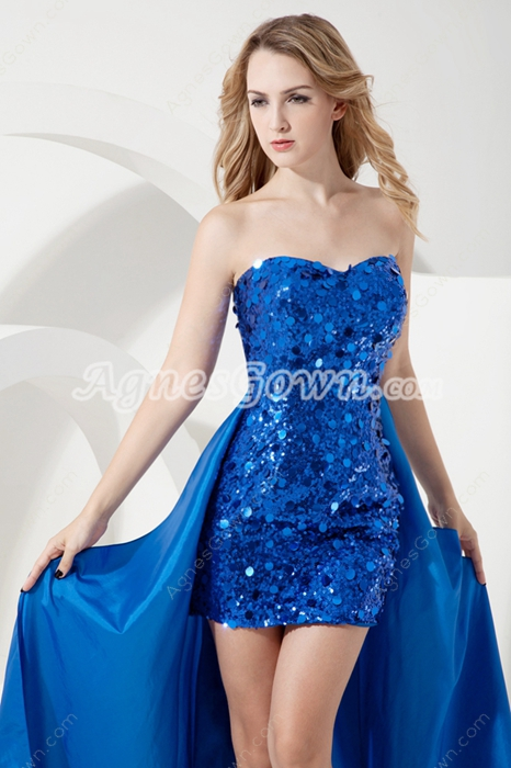 Sweet Royal Blue Sequined Homecoming Dress with Detachable Train