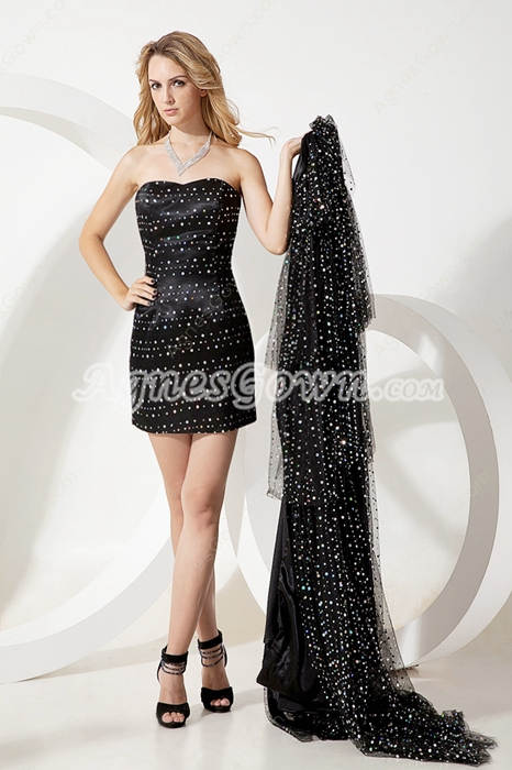 Beaded Black Sweet Sixteen Dress With Detachable Train