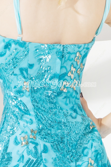 Unique Spaghetti Straps Blue Sequined Cocktail Dresses
