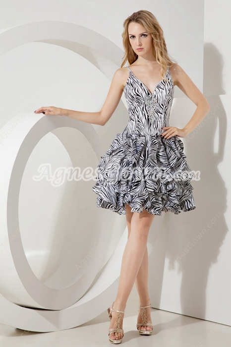 Special Zebra Printed Quince Dress For Damas