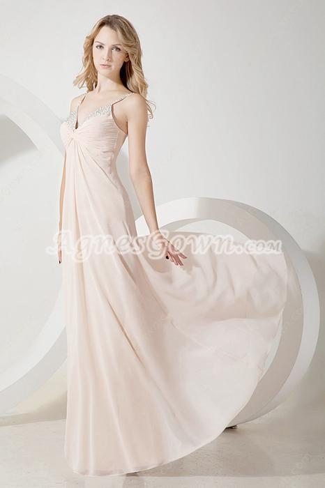 Popular Champagne Chiffon Spaghetti Straps Prom Dresses
