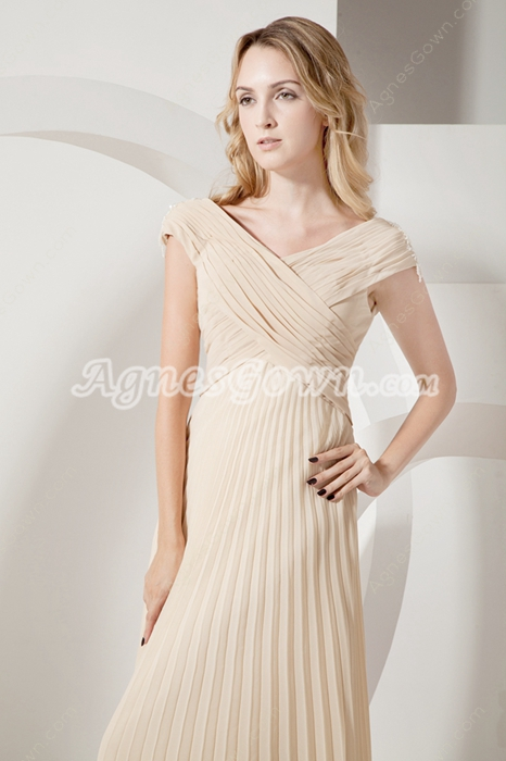 Off The Shoulder Pleated Chiffon Champagne Mother Dress