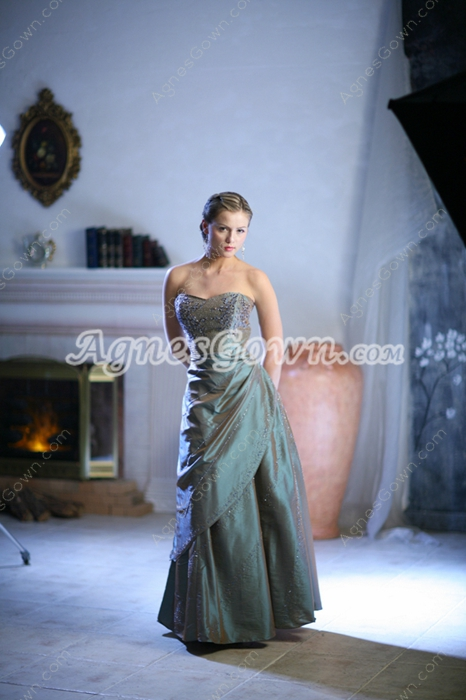 Chic Sweetheart Full Length Taffeta Plus Size Quince Dresses