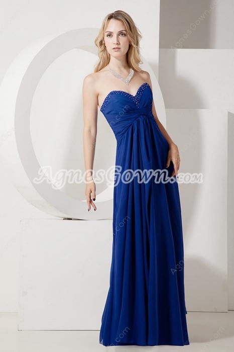 Grecian Empire Waist Royal Blue Chiffon Maternity Bridesmaid Dress