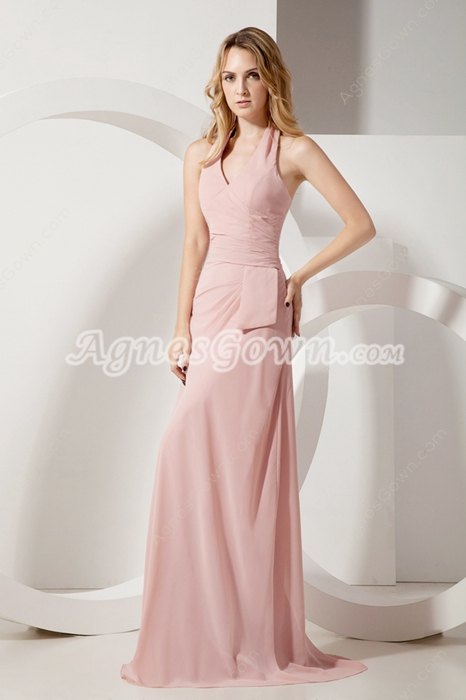 Impressive Halter Dusty Rose Chiffon Mother Of The Bride Dress