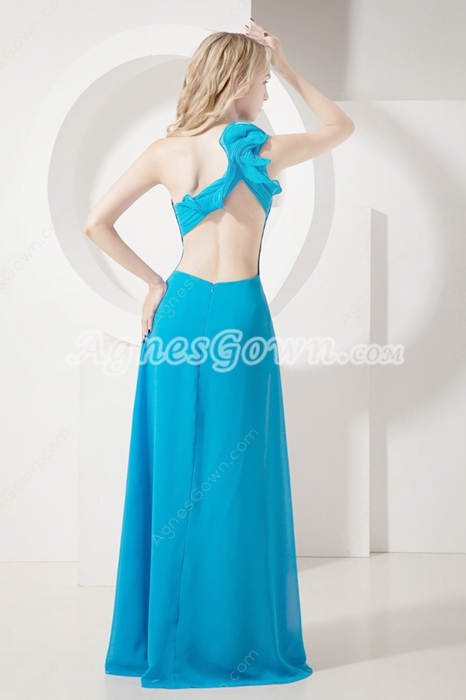 Lovely Turquoise Chiffon One Shoulder Prom Dress with Slit