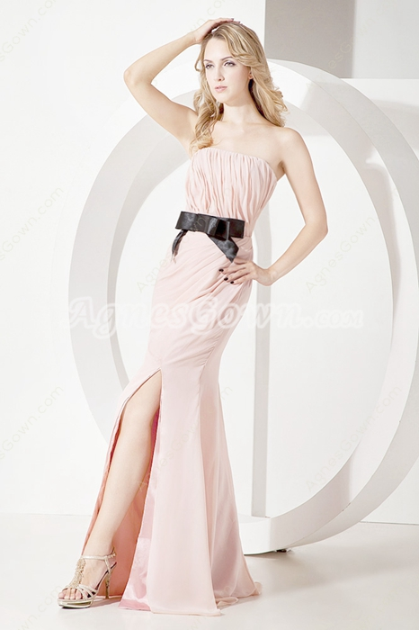 Exclusive Strapless Graduation Dresses With Black Sash