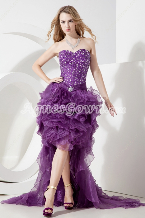 Terrific Purple Puffy Sweet 16 Prom Dresses With Ruffles