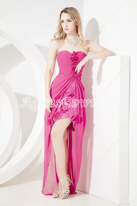 Cute Fuchsia Sweetheart Homecoming Dresses with High Low Hem