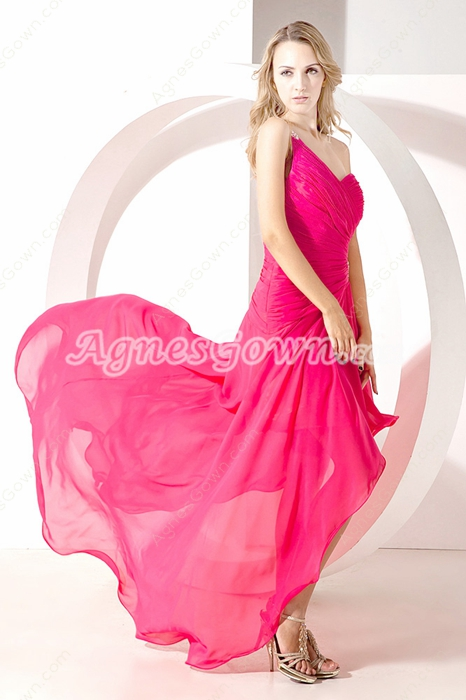Cute Fuchsia One Shoulder High Low Prom Dress