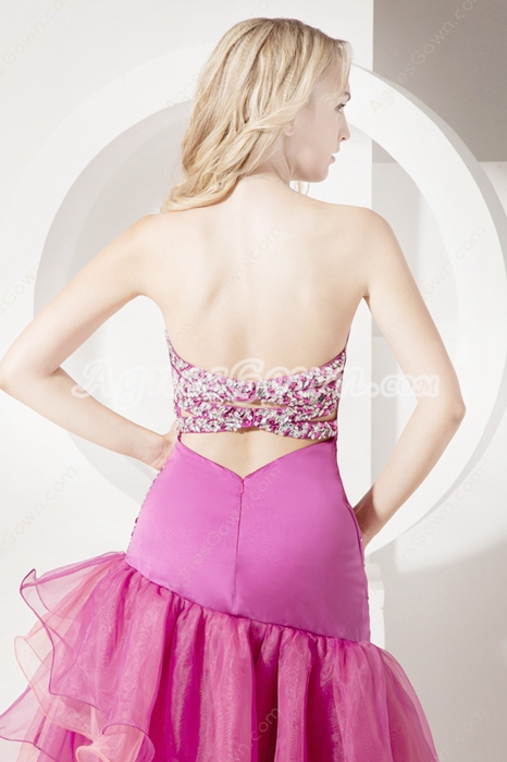 Lovely Strapless Fuchsia Organza Homecoming Dresses