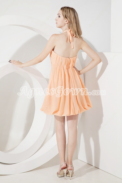 Coral Halter Chiffon Short Beach Bridesmaid Dresses