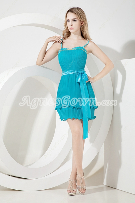 Cheap Mini Teal Chiffon Spaghetti Wedding Guest Dress
