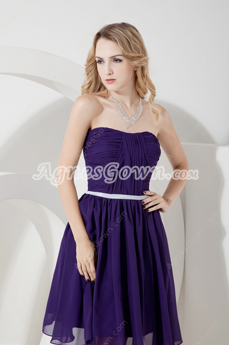 Simple Purple Chiffon Strapless Summer Bridesmaid Dresses