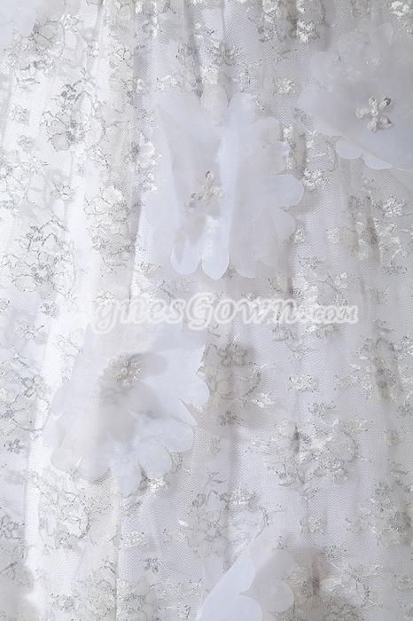 Luxurious Beaded Lace Wedding Dress With Handmade Flowers