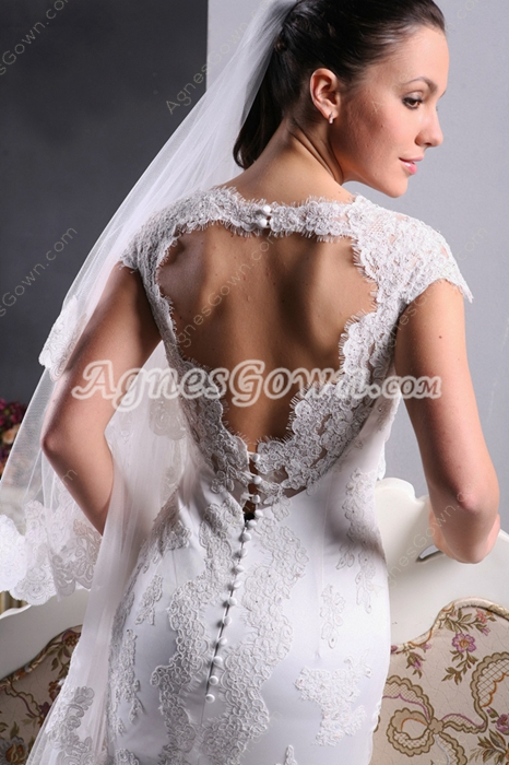 Keyhole Back Short Sleeve Lace Wedding Dress With Buttons