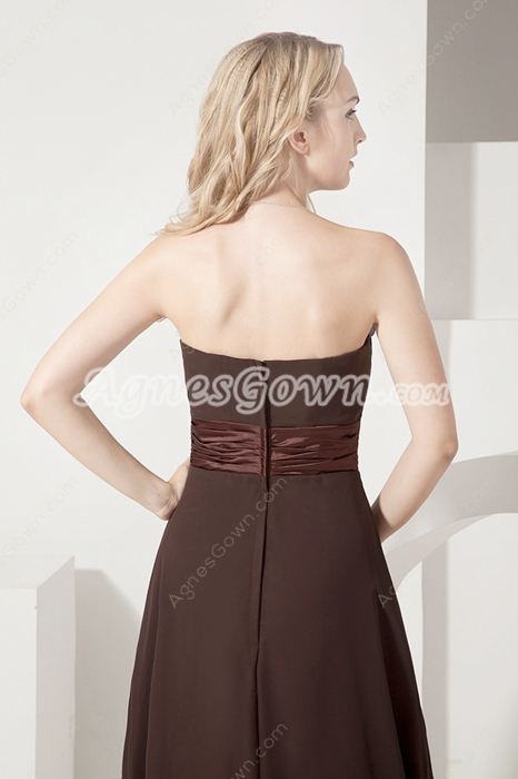 Romantic Brown Chiffon Strapless A-line Mother Of The Bride Dresses