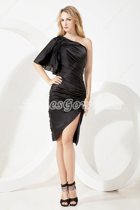 Sheath Knee Length Black Wedding Guest Dress One Straps