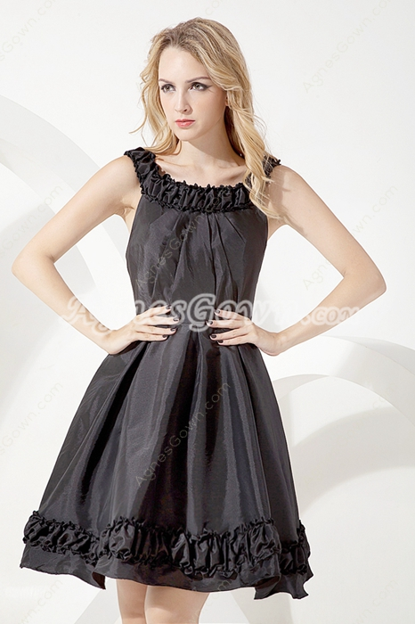 Mini Length Scoop Neckline Black Homecoming Dress