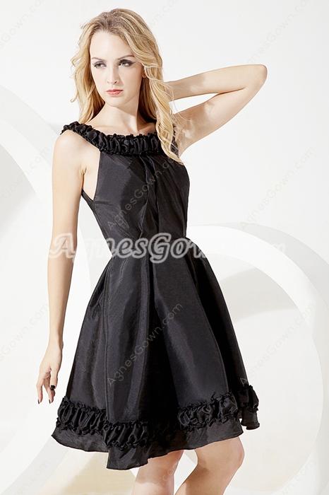 Mini Length Scoop Neckline Black Homecoming Dress