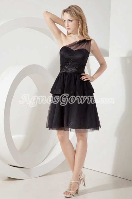 Charming One Shoulder Tulle Little Black Dresses