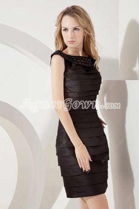 Modern Black Pleated Party Dress With Beads