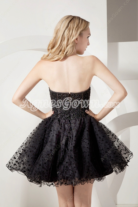 Fancy Beaded Strapless Tulle Puffy Black Party Dress