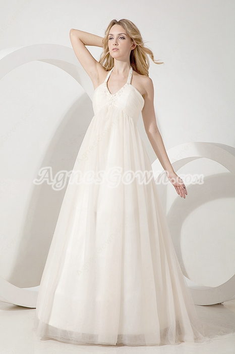 Glamour Halter Empire Wedding Dress For Pregnancy Women