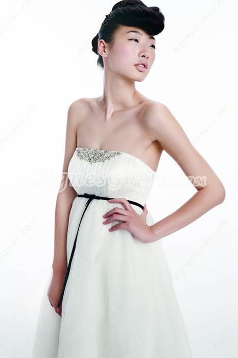 Greek Empire Waist Maternity Wedding Dress With Black Sash