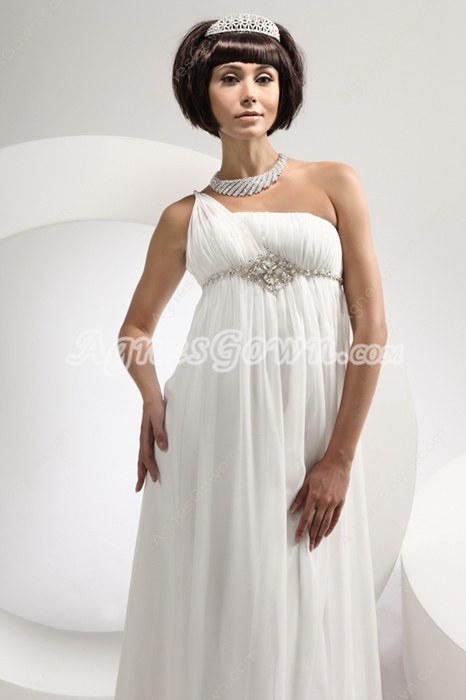 One Shoulder Empire Chiffon Maternity Wedding Dress