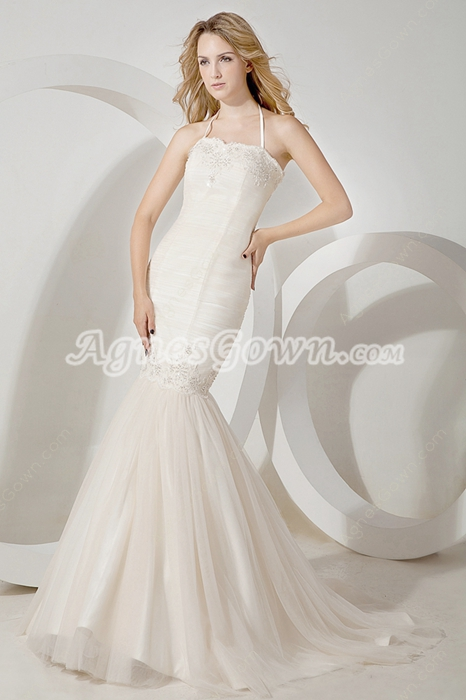 Affordable Halter Ivory Mermaid/Fishtail Wedding Dress