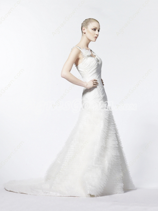 V-Neckline Pleated Tulle Wedding Dress 2016