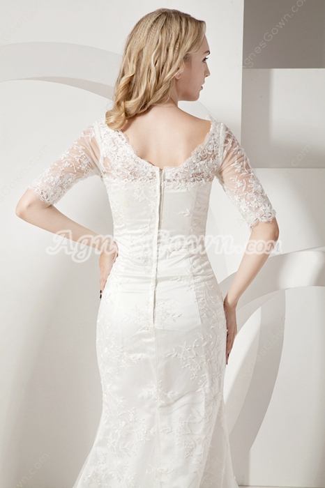 Chic Trumpet V-Neckline Lace Wedding Dresses with Sleeves