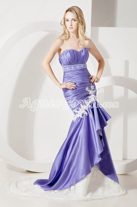 Lavender Satin And Ivory Lace Mature Mermaid Wedding Gown