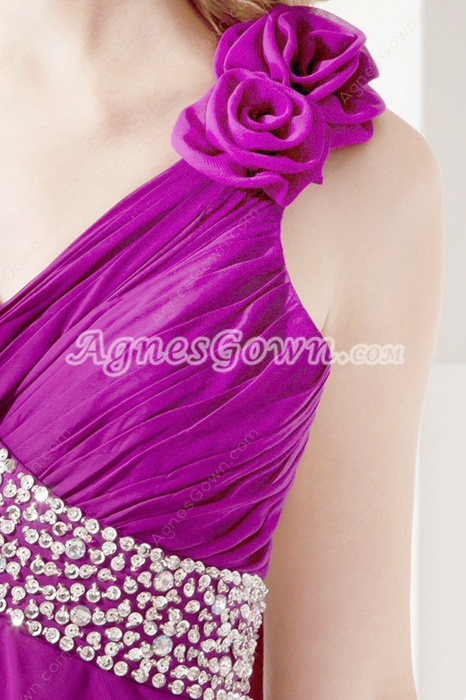 Sexy Fuchsia Chiffon One Shoulder Evening Dress
