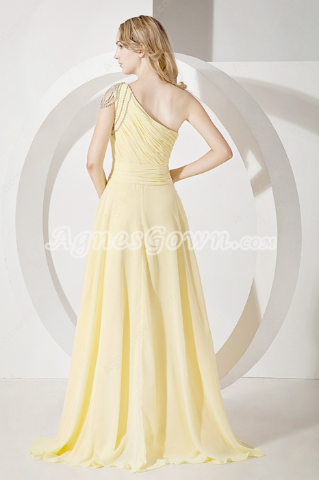 Charming Yellow One Shoulder A-line Graduation Ball Dress