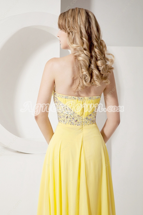 Delicate Yellow Chiffon A-line Full Length Pageant Dresses