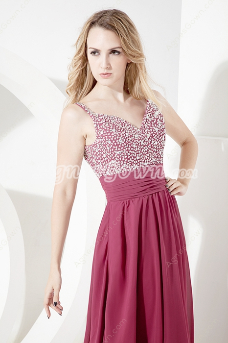 Modest Straps A-line Full Length prom dresses