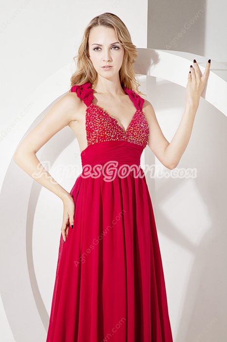 Fantastic Deep V-neckline Red Chiffon Pageant Dresses For Women