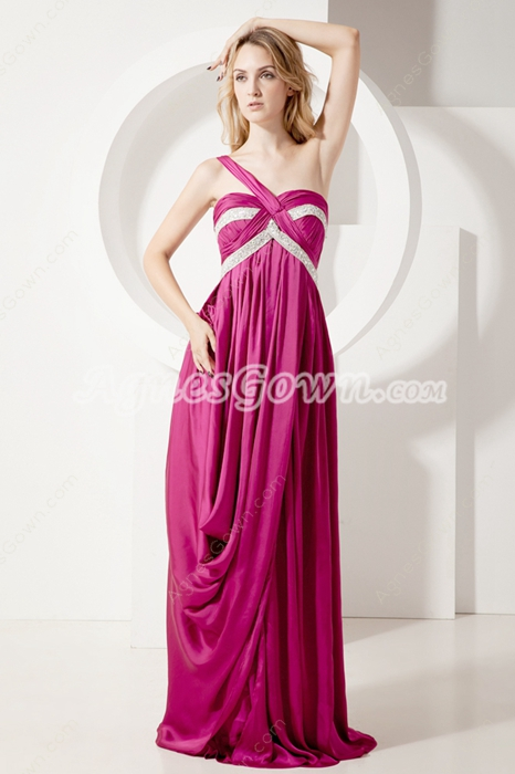 Chamring Fuchsia One Shoulder Maternity Party Dresses