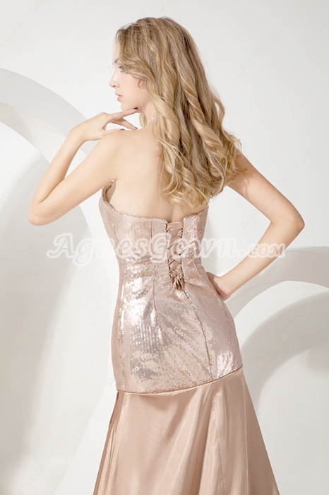 Luxurious Champagne Celebrity Evening Dress Front Slit