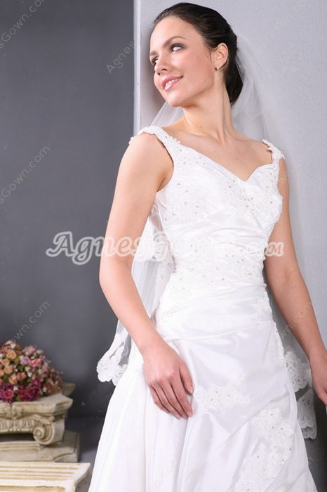 Classical V-neckline Wedding Dresses With Appliques