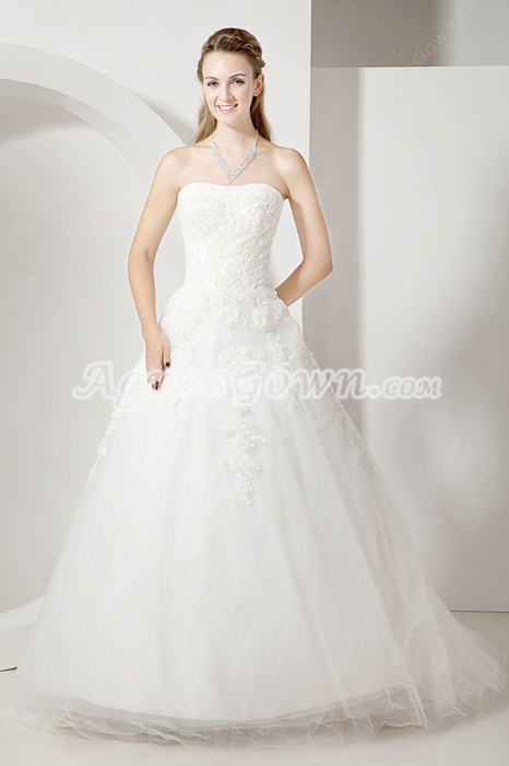 Fancy Strapless Lace Ball Gown Wedding Dresses