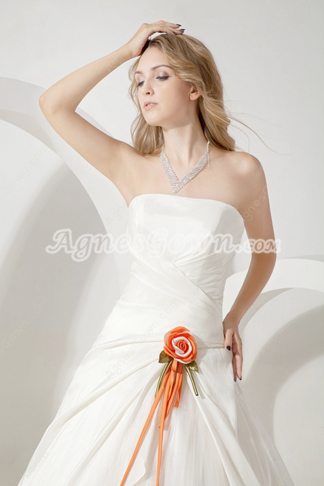 Modest Strapless Ball Gown Wedding Dress With Orange Flower