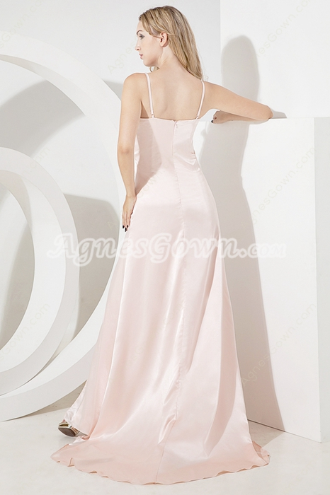 Hot Pearl Pink Spaghetti Straps A-line Evening Dresses With Front Slit