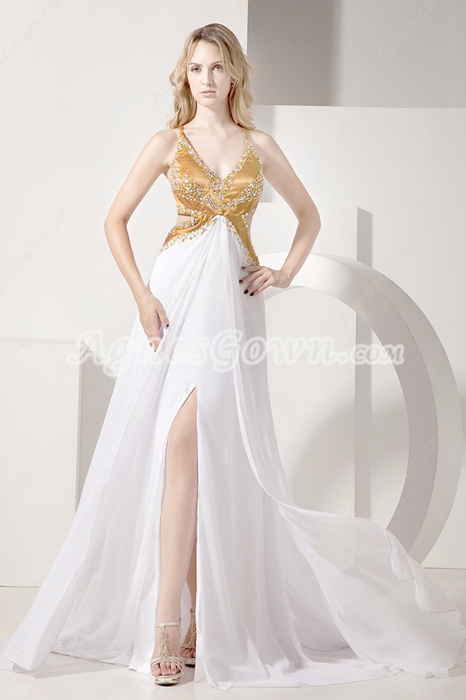 Sexy  Gold and White Informal Evening Dress with Crossed Back